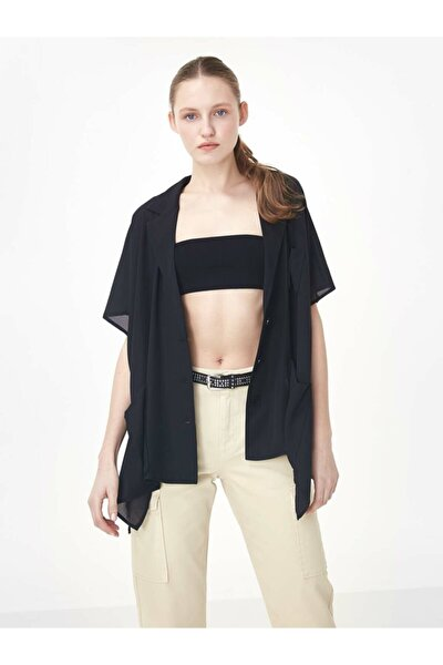 Kadın Siyah Düşük Kol Düğme Kapama Ceket