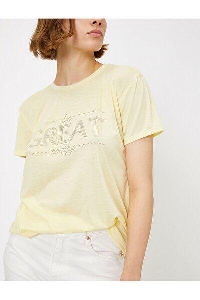 Kadın Sarı Yazılı Baskılı T-Shirt