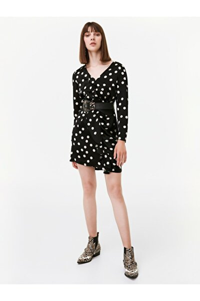Kadın Siyah Puantiye Desen Elbise