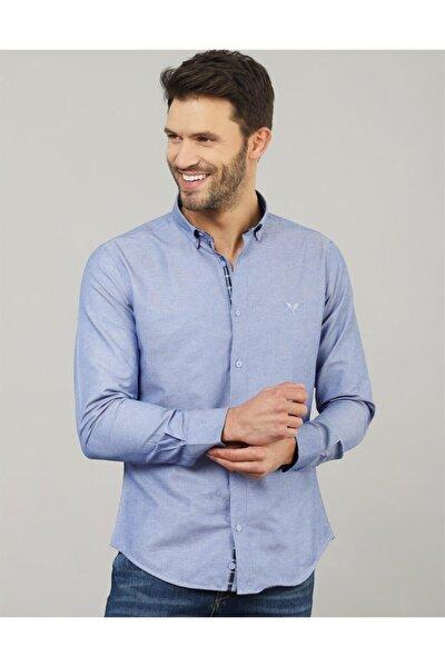 Slim Fit Mavi Erkek Gömlek