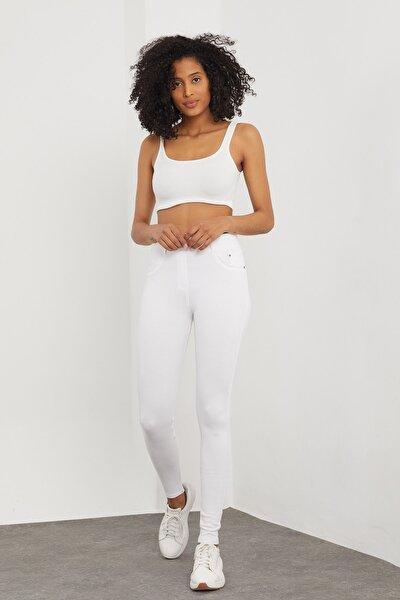 Kadın Beyaz Cepli Pantolon Görünümlü Tayt