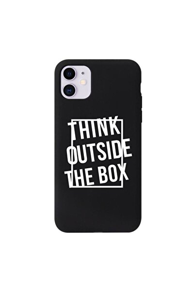 Iphone 11 Think Outside The Box Desenli Siyah Silikonlu Kılıf