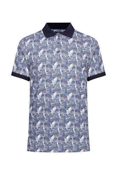 Erkek Mavi Beyaz Polo Yaka T-shirt