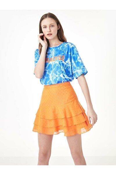 Kadın Mavi Taş Şeritli Tshirt TS1200070159089