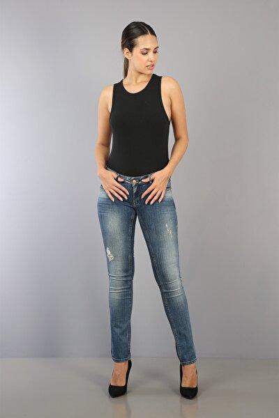 Kadın Mavi Düşük Bel Slim Fit Dar Paça Kot Pantolon Wmn09114-jns