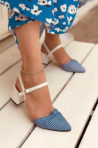 Kadın Beyaz Mat Mavi Ekose Topuklu Ayakkabı