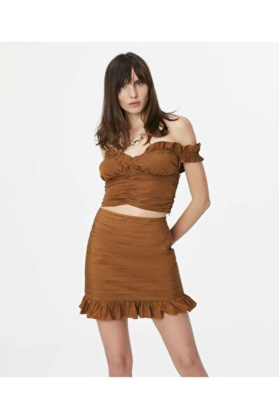Kadın Kahverengi Fırfır Şeritli Büstiyer