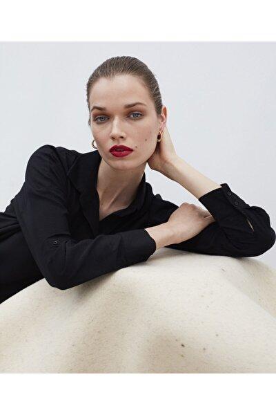 Kadın Siyah Gömlek Yaka Bluz