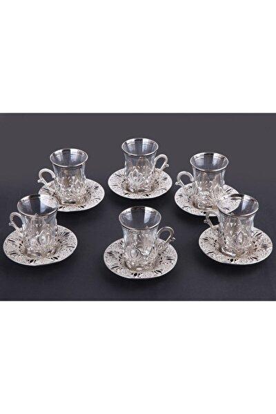Gümüş Renkli 6 Kişilik 18 Parça Çay Seti
