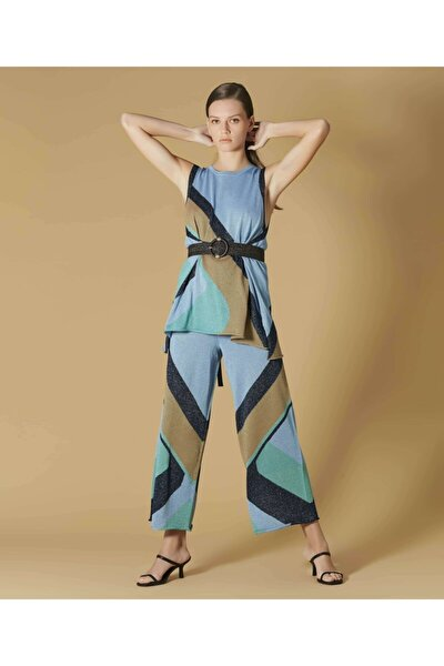 Kadın Mavi Simli Örme Triko Pantolon