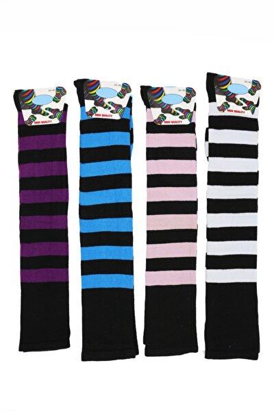 Kadın Renkli Uzun Çemberli Çorap 4'lü
