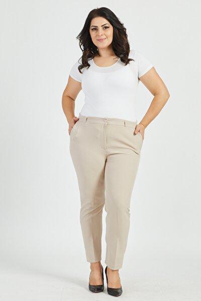 Kadın Gri Dar Paça Büyük Beden Kumaş Pantolon