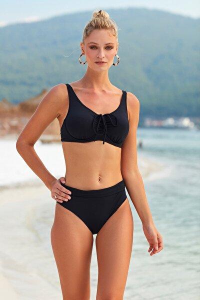 Kadın Siyah Sürgülü Toparlayıcı Bikini