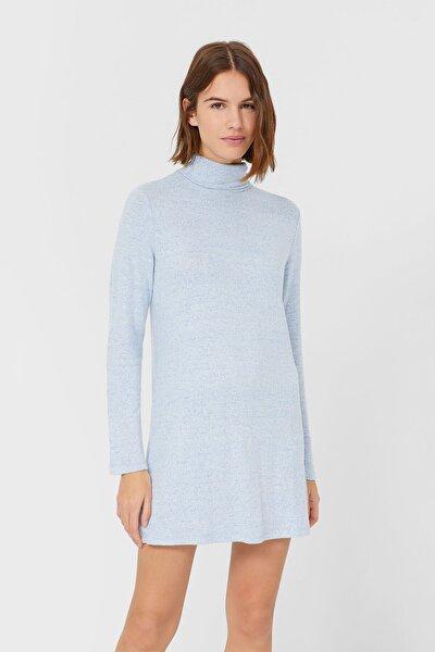 Kadın Açık Mavi Yumuşak Dokulu Kısa Elbise 06386150