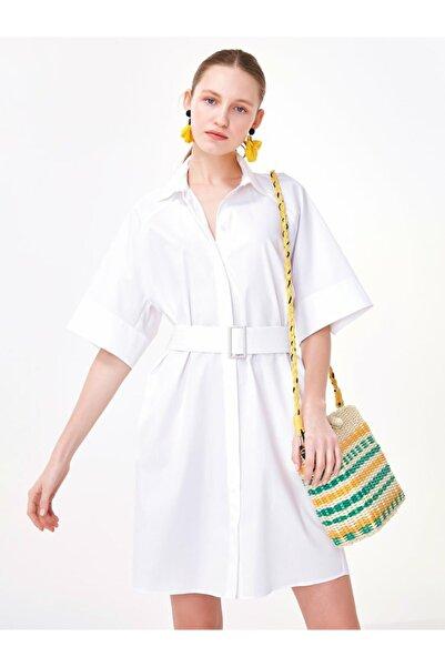 Kadın Beyaz Kemerli Gömlek Elbise TS1200002445002