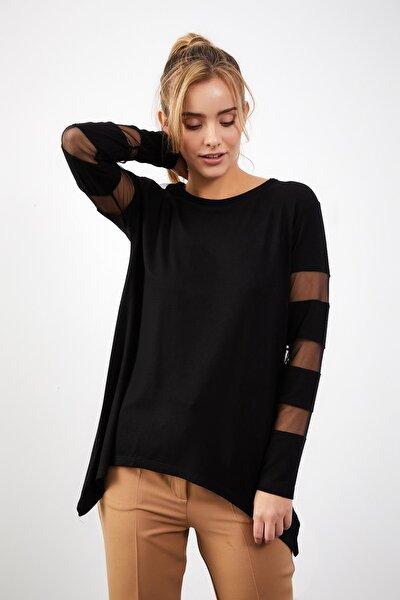 Kadın Siyah Sırt Dekolteli Tül Detay Asimetrik Kesim Bluz