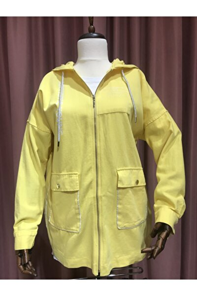 Kadın Sarı Yazılı Kapüşonlu Ceket