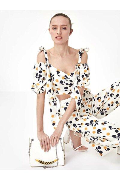Kadın Ekru Çiçek Desen Crop Bluz TS1200006189082