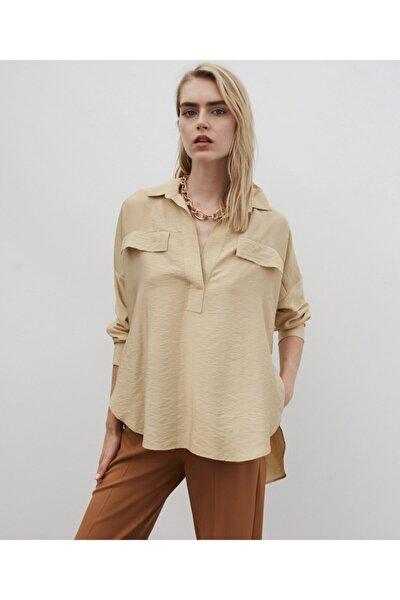 Kadın Bej Gömlek Yaka Bluz