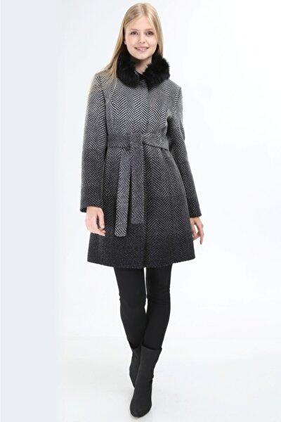 Kadın Siyah Çift Renkli Kaşmir Palto