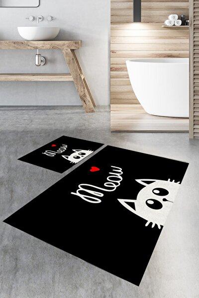 """meow"" Kedi Desenli Banyo Halı Takımı (40x60/60x100) - Cp802"