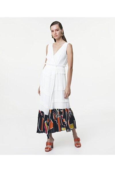 Kadın Beyaz Eteği Kumaş Mixli Anvelop Elbise