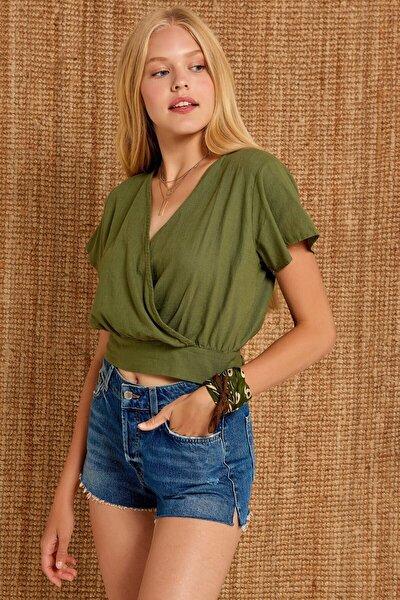 Kadın Haki Yeşili Altı Bağlamalı Kruvaze Keten Bluz 11255