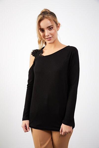 Yeni Model Kadın Tek Omuz Dantel Detay Bluz