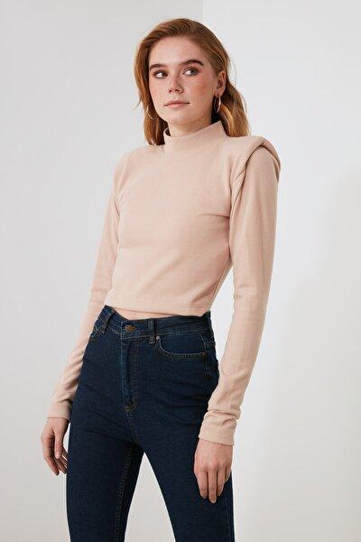 Bej Omuz Detaylı Örme Bluz TWOAW21BZ1475