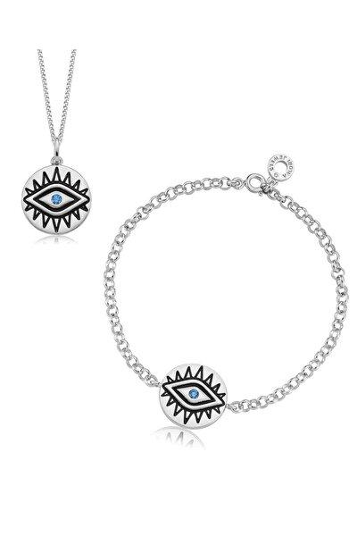 Egzotik Nazar Gözü, Swarovski Zirkon Mavi Taşlı, Gümüş Set