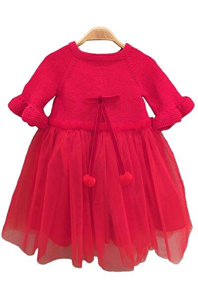 Kız Bebek Kırmızı El Örgüsü Organik Pamuk Tütü Elbise