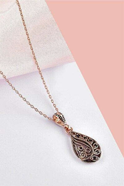 Damla Model Markazit Taşlı Telkari Rose Gümüş Kolye