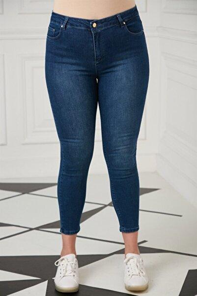 Kadın Lacivert Düğme Detay Büyük Beden Pantolon