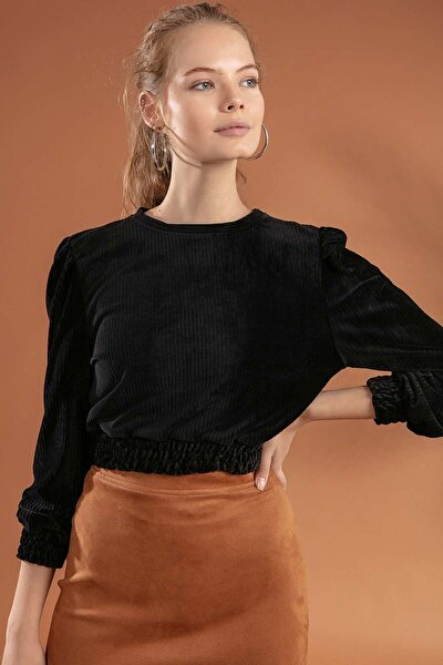 Kadın Belden Büzgülü Crop Kadife Sweatshirt F374