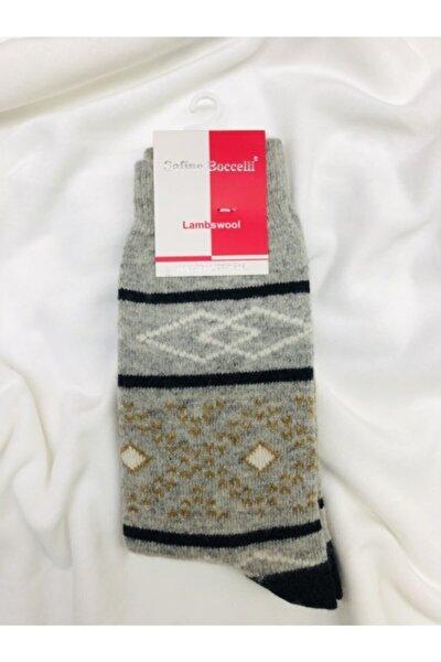 Kadın Gri Lambswool Yün Çorap