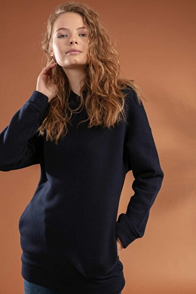 Kadın Kapşonu Kulaklı Gizli Cepli Şardonlu Sweatshirt 10382