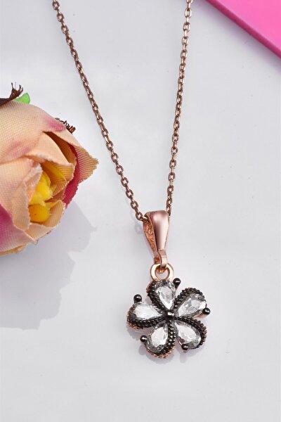 Kadın Mine Çiçeği 925 Ayar Zirkon Taşlı Gümüş Kolye