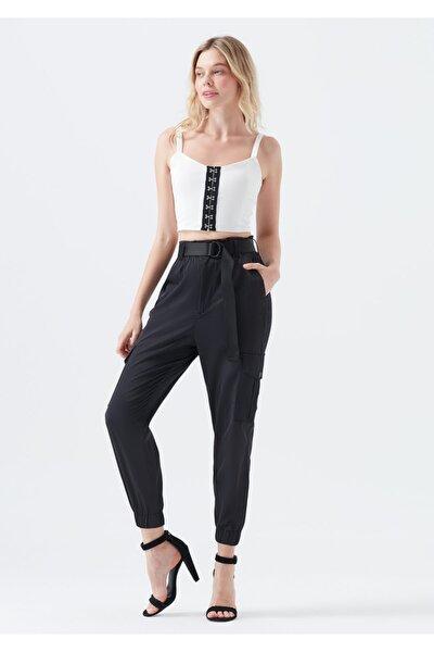 Kadın Kemerli Siyah Kargo Pantolon
