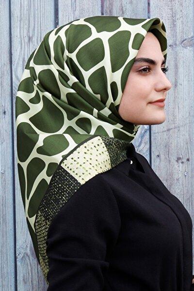 Kadın Yeşil Desenli Dijital Tafta Eşarp
