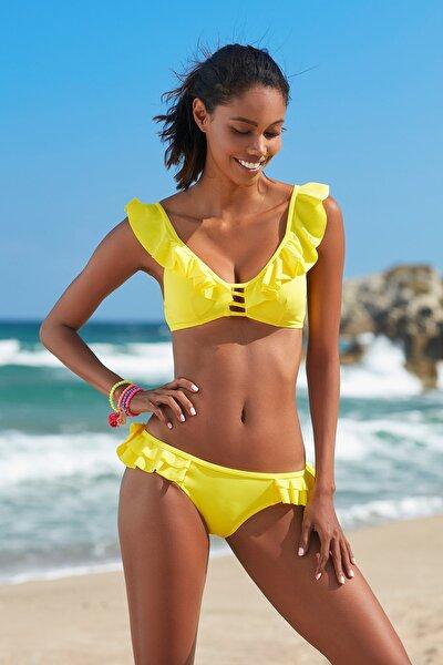 Kadın Sarı Fırfır Detaylı Üçgen Bikini Üst 209104