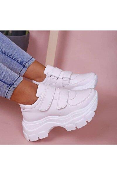 Kadın Beyaz Topuklu Spor Ayakkabı