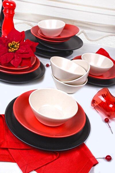 Hitit Degrade Siyah Krem Kırmızı Yemek Takımı 18 Parça 6 Kişilik