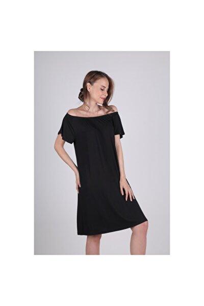 Kadın Siyah Açık Omuz Yakası Lastikli Geniş Kesim Elbise