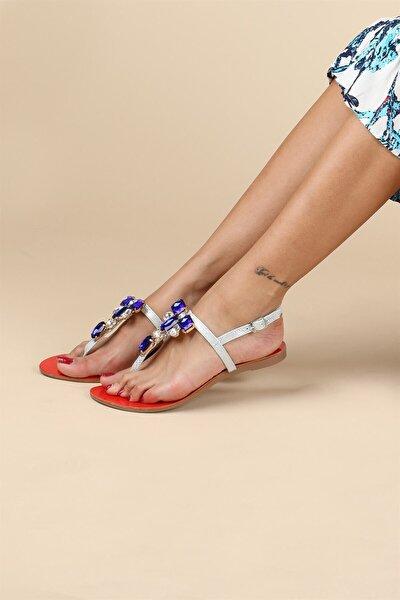 Kadın Kırmızı Mavi Taşlı Sandalet