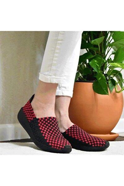 Kadın Kırmızı Lycralı Ayakkabı