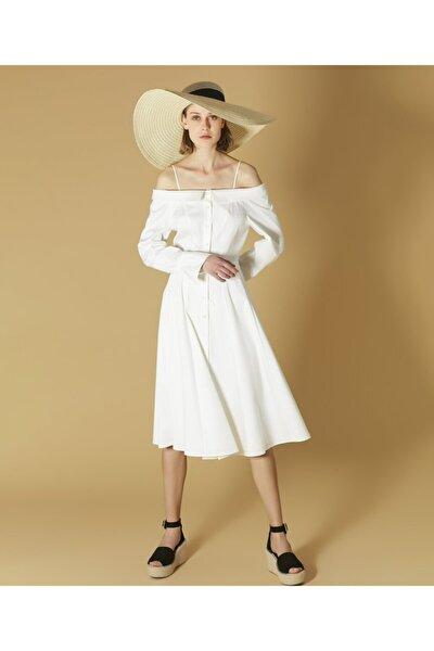 Kadın Beyaz Yaka Detaylı Elbise