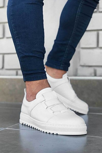 Yüksek Taban Beyaz Erkek Günlük Sneaker Ayakkabı