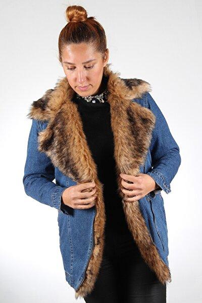 Kadın Mavi Kot Rengi Yakası Kahverengi Kürklü Mont