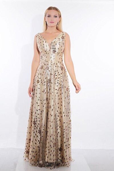 Kadın Komple Boncuk İşlemeli Desenli Uzun Abiye Elbise