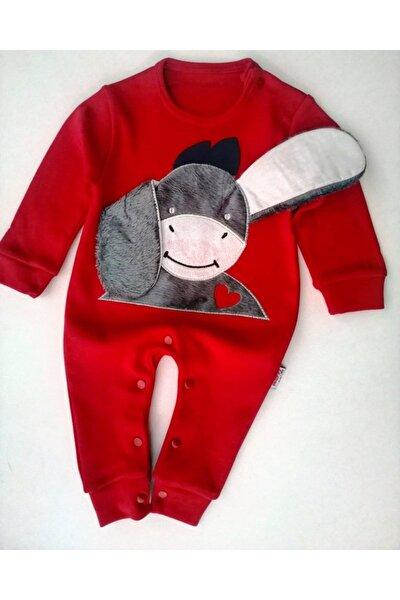 Unisex Bebek Kırmızı Eşekli Tulum